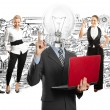 Business team with lamp head — Stock Photo #49574947
