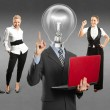 Business team with lamp head — Stock Photo #49574993