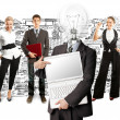 Business team with lamp head — Stock Photo #49575011