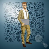 Hipster man with laptop — Vecteur