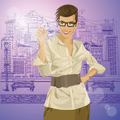 Hipster Businesswoman — Stock Vector