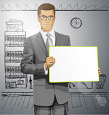 Businessman with writing board — Stock Vector