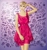 Blonde in pink dress — Stock Vector