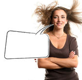 Woman with speech bubble — Stock Photo
