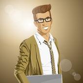 Homme de hipster — Vecteur