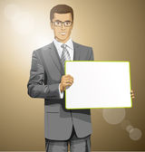 Homme d'affaires avec tableau blanc — Vecteur