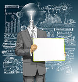 Lamp Head Business Man — Stock Vector