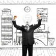 Lamp-head businessman with hands up — Stock Photo #6009940