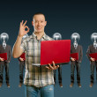 Lamp head businesspeople with laptop — Stock Photo #6314494
