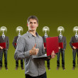 Lamp head businesspeople with laptop — Stock Photo #6406827