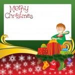 Christmas Card with Socks and Boy — Stock Vector #7588144