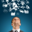 Businessman Looking Upwards in Social Network — Stock Photo #9405691