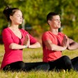 Man and woman woman doing yoga in park — Stock Photo #14530333