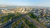 Antenn med stadsutsikt — Stockfoto