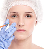 Cosmetic botox injection in face — Stockfoto