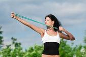 女人做伸展运动。瑜伽 — 图库照片