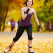 Woman on roller skates in the park — Stock Photo