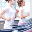 Two young sporty women run on machine - Foto de Stock