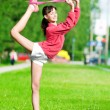 Girl doing stretching exercise. Yoga — Stock Photo #19951725