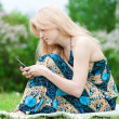 Woman texting on mobile phone - Stock Photo