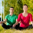 Man and woman woman doing yoga in park - Photo