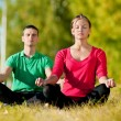 Man and woman woman doing yoga in park — Stock Photo