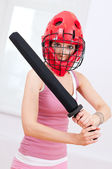 Woman doing self defence exercise — Stock Photo
