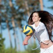 Woman playing volleyball on beach — Stock Photo #19975353
