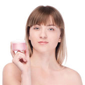Woman offer moisturizer cream on white — Stock Photo