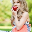 Beautiful woman with red apple — Stock Photo #19980173