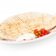 Breakfast Quesadilla with Sour Cream and vegetables on plate. Isolated on white — Stock Photo