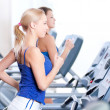 Two young women run on machine in the gym - Stockfoto