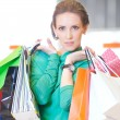 Shopping woman with color bags - Stock Photo