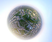 Aerial city view from air (helicopter) — Stock Photo