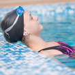 Female swimmer in blue water swimming pool. Sport woman. — Stock Photo #32886227