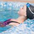 Stock Photo: Female swimmer in blue water swimming pool. Sport woman.