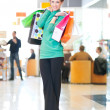 Shopping woman with color bags — Photo