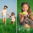 Collage of happy girls on green grass — Stock Photo #32888847