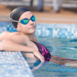 Female swimmer in blue water swimming pool. Sport woman. — Stock Photo