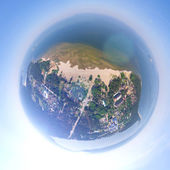 Aerial city view from air - little planet mode — Stock Photo
