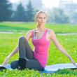 Sport woman doing stretching fitness exercise — Stock Photo