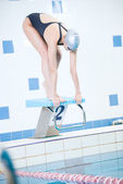Portrait of a female swimmer — Stock Photo