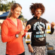HUA HIN, THAILAND - DEC 28:Victoria Azarenka(pink) of Belarus and Redfoo LMFAO show the ciphers at Intercontinental Hua hin resort on December 28, 2012 in Hua hin, Thailand. — Stock Photo