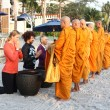 HUA HIN, THAILAND - DEC 28:Victoria Azarenka of Belarus pay respect to a monks. Before tennis Match Hua hin World Tennis Invitation at Intercontinental resort on December 28, 2012 in Hua hin, Thaila — Stock Photo