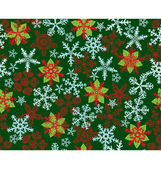 Poinsettias Snow Flakes Green pattern — Stock Vector