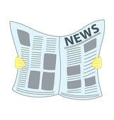 Reading Newspaper — Stock Vector