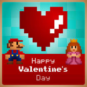 Video game Valentine's Day greeting card — 图库矢量图片