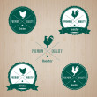 Vintage Chicken and Rooster Badge set - Stock Vector
