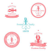 Vintage Lobster Badge set — Stock Vector