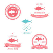 Vintage tonfisk badge set — Stockvektor